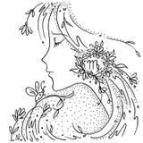 Zeichnendes Schwarzweiss-Mädchen der Sternzeichen-Jungfrau mit Blumen und Anlagen in ihrem Haar stock abbildung