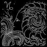 Zeichnendes Schwarzweiss-M?dchen des Sternzeichen-Steinbocks mit einem Fischendst?ck und Ziegenh?rnern in ihrem Haar stock abbildung