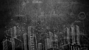 Zeichnendes Video der Tafelstadt stock abbildung