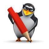 zeichnet akademischer Pinguin 3d mit einem Bleistift Lizenzfreie Stockfotografie