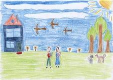 Zeichnung der Familie, gescannt Stockbild