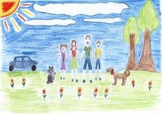 Zeichnung der Familie, gescannt Stockfotos