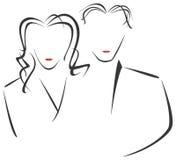 Zeichnung der Frau und des Mannes Lizenzfreies Stockfoto