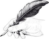 Zeichnung der Hand mit einem Federstift vektor abbildung