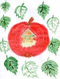 Zeichnung der Kinder auf einem Thema der Ernte stock abbildung