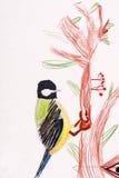 Zeichnung der Kinder. kleiner Vogel Lizenzfreie Stockfotografie