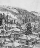 Zeichnung der Kleinstadt Koprivshtica im Winter Stockbilder
