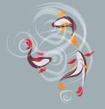 Zeichnung der koi Fische Stockbild