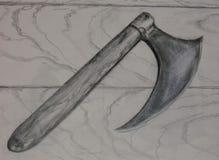 Zeichnung der mittelalterlichen Kampf-Axt Stockfotos