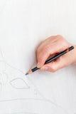 Zeichnung der Skizze auf silk Segeltuch Lizenzfreies Stockbild