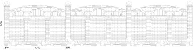 Zeichnung des Abschnitts eines Ziegelsteinzauns Stockbild