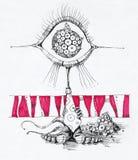 Zeichnung des ausländischen Zeichens Stockfoto