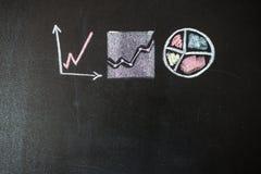 Zeichnung des Diagramms auf Tafel Lizenzfreies Stockfoto