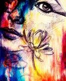 Zeichnung des Frauengesichtsdetails mit Blume auf grafischem Hintergrund mit Struktureffekt Stockbilder