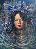 Zeichnung des gotischen jungen Mädchens, Anstrich Lizenzfreies Stockbild