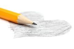 Zeichnung des Herzens und des Bleistifts Stockfotografie