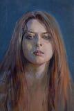 Zeichnung des jungen melancholischen Mädchens Stockfotografie