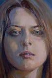 Zeichnung des jungen melancholischen Mädchens Lizenzfreie Stockbilder
