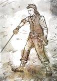 Zeichnung des jungen Piraten mit einer Klinge und einem Dolch Lizenzfreie Stockfotos