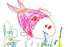 Zeichnung des Kindes auf Papier Stockbilder