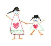 Zeichnung des Kindes durch Zeichenstift Lizenzfreie Stockfotografie