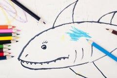 Zeichnung des Kindes ein Haifisch Lizenzfreie Stockbilder