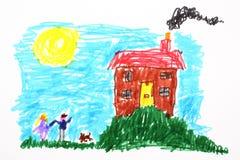 Zeichnung des Kindes eines Hauses Stockbild