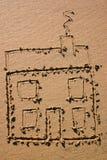 Zeichnung des Kindes eines Hauses Lizenzfreie Stockbilder