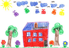 Zeichnung des Kindes eines Hauses Lizenzfreie Stockfotografie