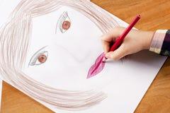 Zeichnung des Kindes Hand Stockbild