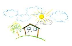 Zeichnung des Kindes ihres Hauses Lizenzfreie Stockbilder