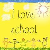 Zeichnung des Kindes mit Meldung Stockbilder