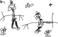 Zeichnung des Kindes von zwei lustigen Leuten Lizenzfreies Stockfoto