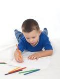 Zeichnung des kleinen Jungen Stockbilder