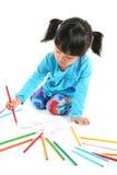 Zeichnung des kleinen Mädchens Stockbild
