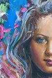 Zeichnung des Mädchens, Fragment, Anstrich Lizenzfreie Stockbilder