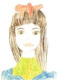 Zeichnung des ursprünglichen Kindes des Mädchenportraits stock abbildung