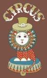 Zeichnung des Zirkusthemas - Löwe in einem Hut mit Lizenzfreies Stockbild