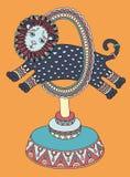 Zeichnung des Zirkusthemas - Löwe springt durch a Stockfoto