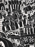 Zeichnung einer afrikanischen rustikalen Bevölkerung stockbilder