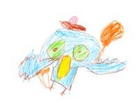 Zeichnung einer Eule eines Kindes 4-5 Jahre alt mit den farbigen Bleistiften lokalisiert Lizenzfreie Stockfotos