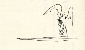 Zeichnung eines Engels mit Leier Lizenzfreies Stockbild
