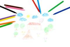 Zeichnung eines Hauses stockfoto