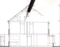 Zeichnung eines Hauses, in der Arbeit Stockbild