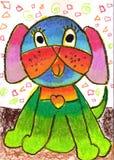 Zeichnung eines Kindes eines Hundes Lizenzfreies Stockbild