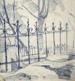 Zeichnung eines metallischen Zauns Lizenzfreie Stockfotos