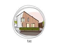 Zeichnung eines modernen Gebäudes innerhalb eines Kreises mit Text Stockfoto
