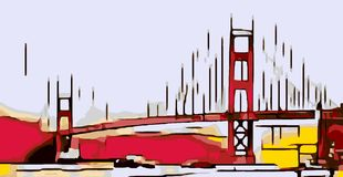 Zeichnung Golden gate bridge, San Francisco, USA Lizenzfreies Stockfoto