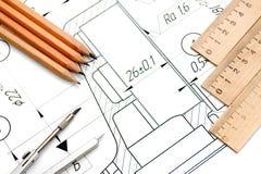Zeichnung, Kompassse, Bleistifte und Tabellierprogramme. Lizenzfreie Stockbilder