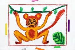 Zeichnung: l?chelnder Affe h?ngt an einer Liane stock abbildung